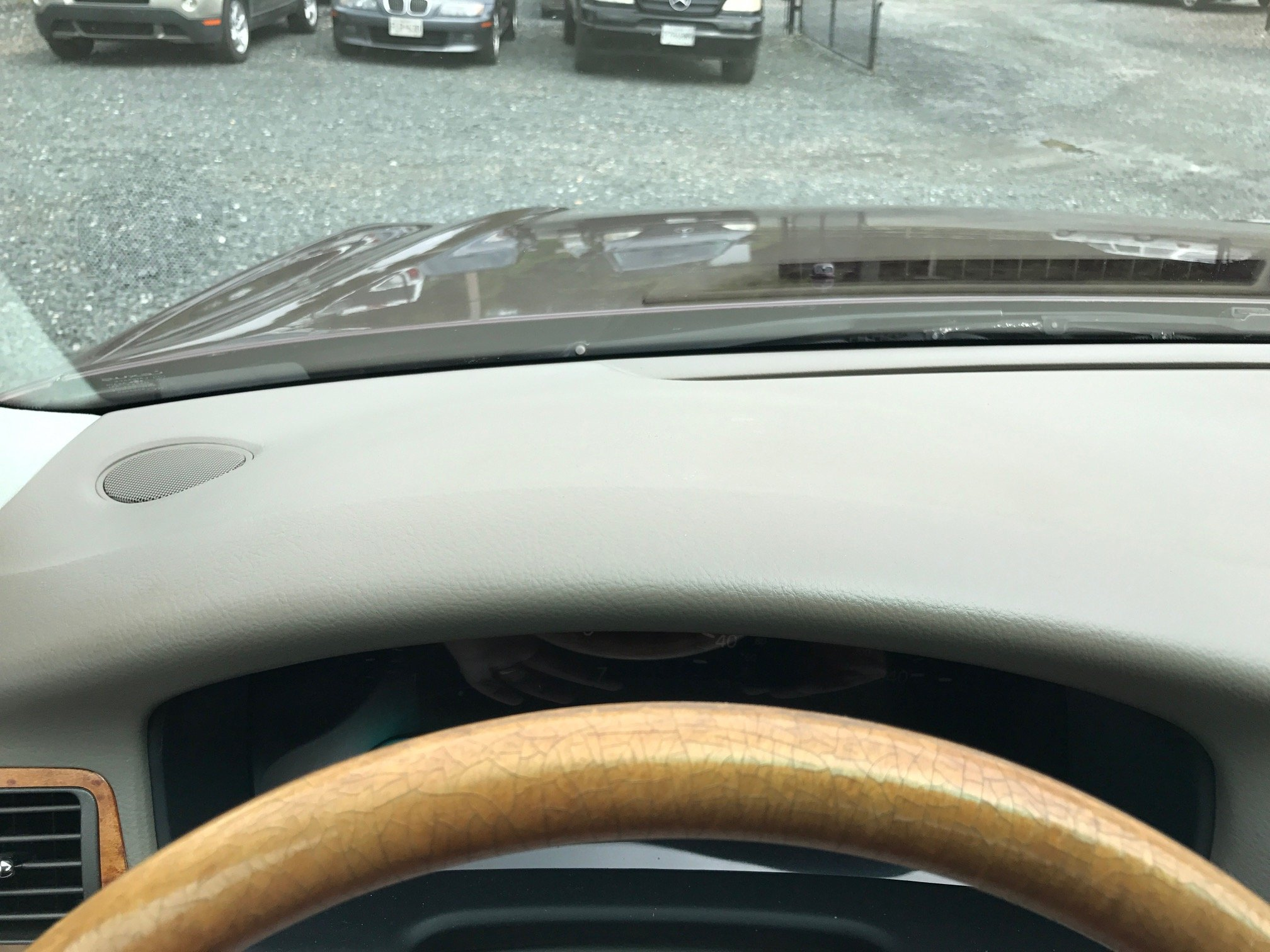 The dash was blistered by sun exposure and surface was repaired and correct texture and color match.